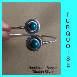 Turquoise Boho Hippie Bangle Silver Handmade